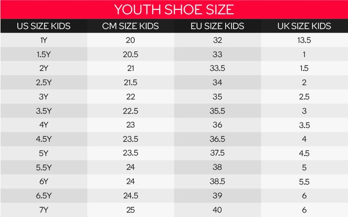 Nike Revolution Youth Size Chart