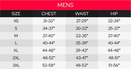 Reebok Men's Tops Size Chart