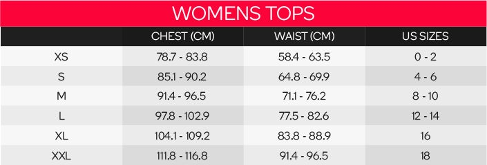 Under Armour Women's Tops Sizing Chart