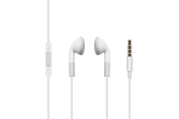 In-Ear Headphones - White Earbud Headphones with Inline Remote & Mic