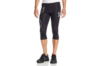 2XU Men's 3/4 Compression Tights (Black/Black)