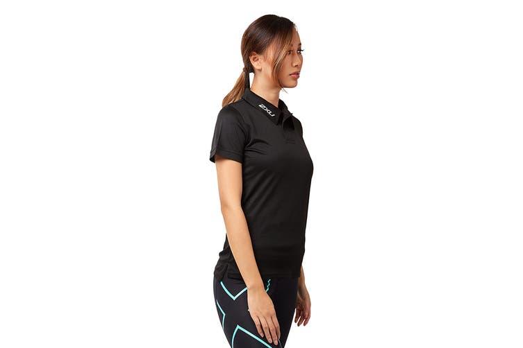 2XU Women's Performance Polo (Black/Black, Size XS)