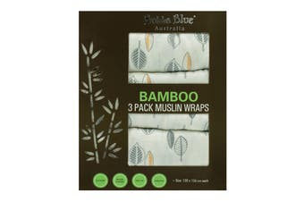 Bubba Blue Bamboo 3 Pack Muslin Swaddling Wraps - Leaf