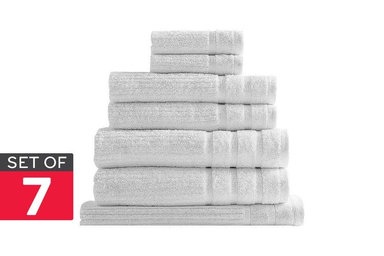 Royal Comfort Set of 7 Eden Egyptian Cotton 600 GSM Towel Pack (White)