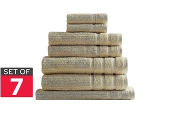 Royal Comfort Set of 7 Eden Egyptian Cotton 600 GSM Towel Pack (Beige)