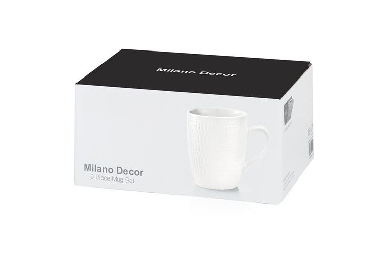 Milano Decor Stoneware 6 Pcs Mug Set  - White