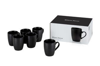 Milano Decor Stoneware 6 Pcs Mug Set  -Black