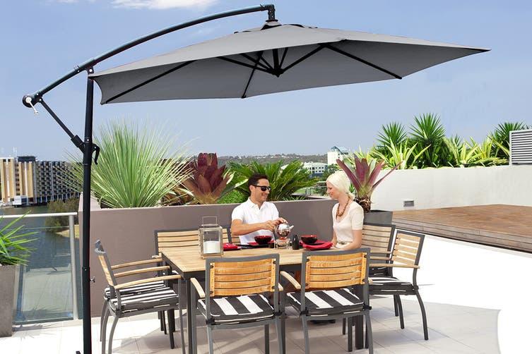 Milano 3 Metre Cantilever Outdoor Umbrella with Bonus Protective Cover (Grey)