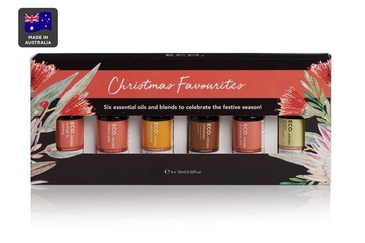 ECO. Aroma Christmas Oil Favorites Collection - 6 Pack (Frankincense, Cinnamon, Festive Pine Blend, Christmas Eve Blend, Ginger Essential Oil, Orange & Nutmeg Blend)