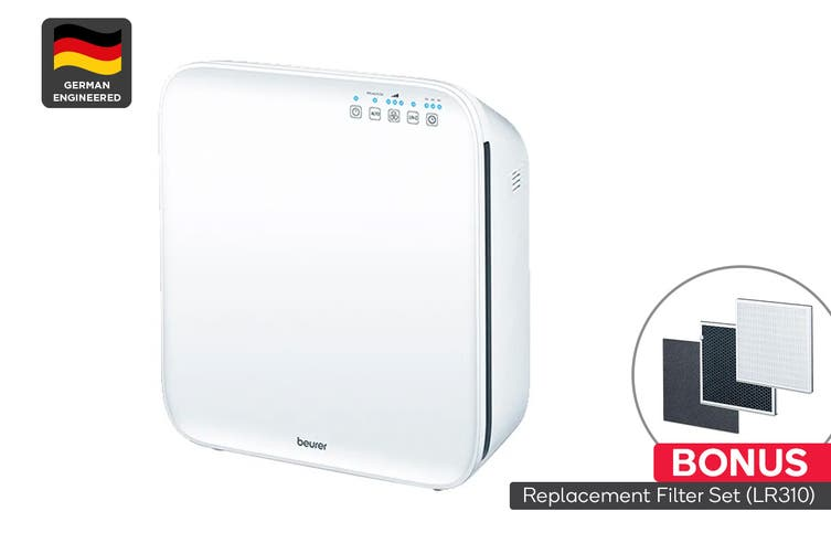 Beurer Triple Filter Air Purifier with Fine Dust Sensor & BONUS Replacement Filter Set (LR310)