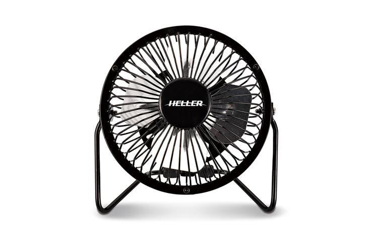 Heller 10cm High Velocity Mini USB Fan - Black
