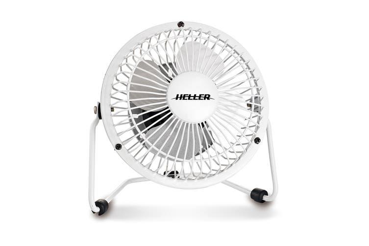 Heller 10cm High Velocity Mini USB Fan - White