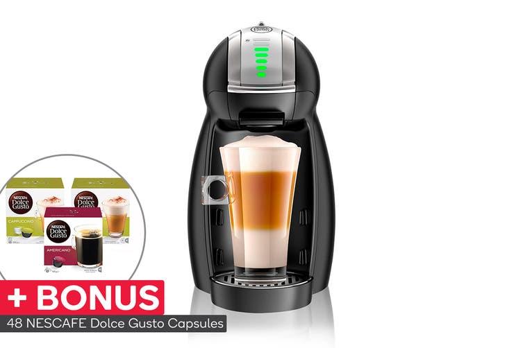 NESCAFE Dolce Gusto Genio 2 Automatic Capsule Coffee Machine with BONUS 48 Capsules - Matte Black (NCU550BLK)