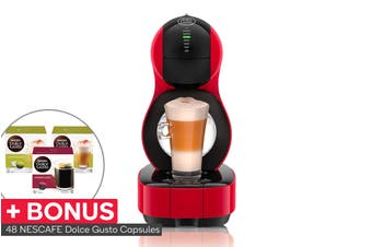 NESCAFE Dolce Gusto Lumio Automatic Capsule Coffee Machine with BONUS 48 Capsules - Red (NCU600RED)