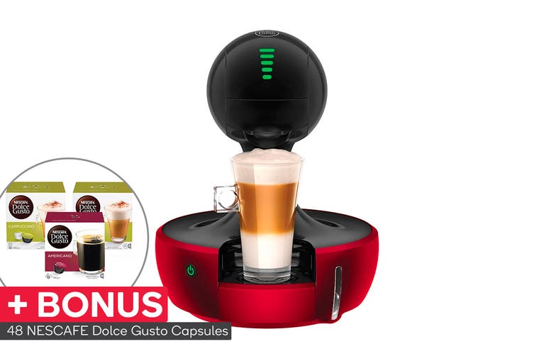 NESCAFE Dolce Gusto Drop Automatic Capsule Coffee Machine with BONUS 48 Capsules - Red Metal (NCU700RED)