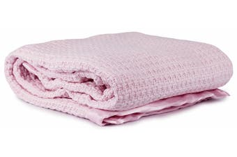 Onkaparinga Moss Weave Cotton Blanket Pink (Cot)