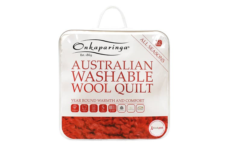 Onkaparinga Australian Wool All Seasons Washable Quilt (Queen)