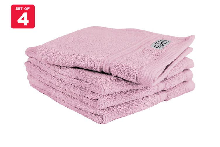 Onkaparinga Ethan 600GSM Face Washer Set of 4 (Rose)