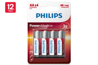 48 Pack Philips Alkaline Battery - AA (12 x 4 Pack)