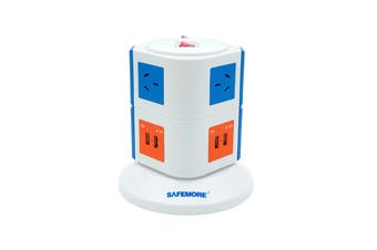 Safemore VPS Original Power Stackr 2 Level with 6 Power Outlets & 4 USB - Blue/Orange (SM-GL2U002-BO)