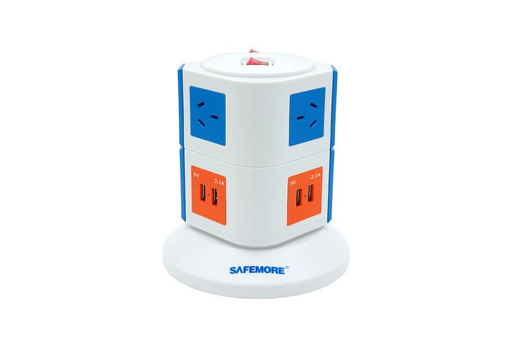 Safemore VPS Original Power Stackr 2 Level with 6 Power Outlets & 4 USB - Blue/Orange (SM-GL2U002-BO)