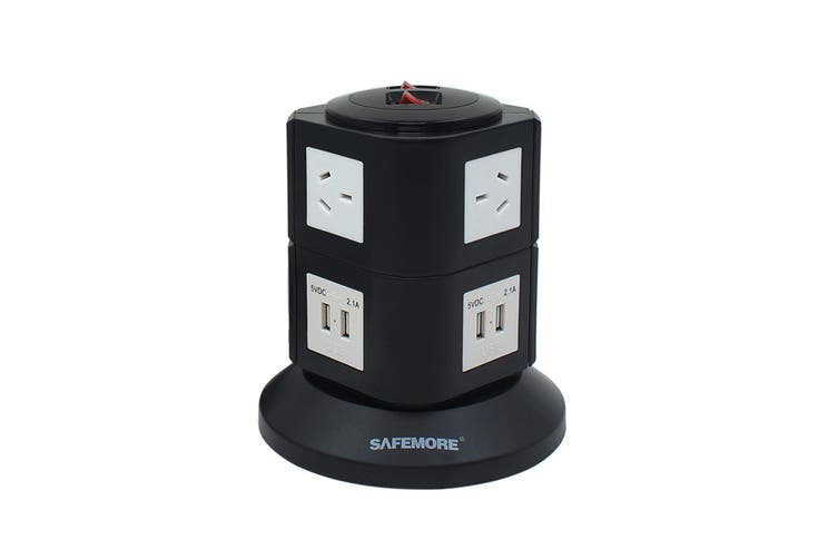 Safemore VPS Original Power Stackr 2 Level with 6 Power Outlets & 4 USB - Black/White (SM-GL2U002-BW)