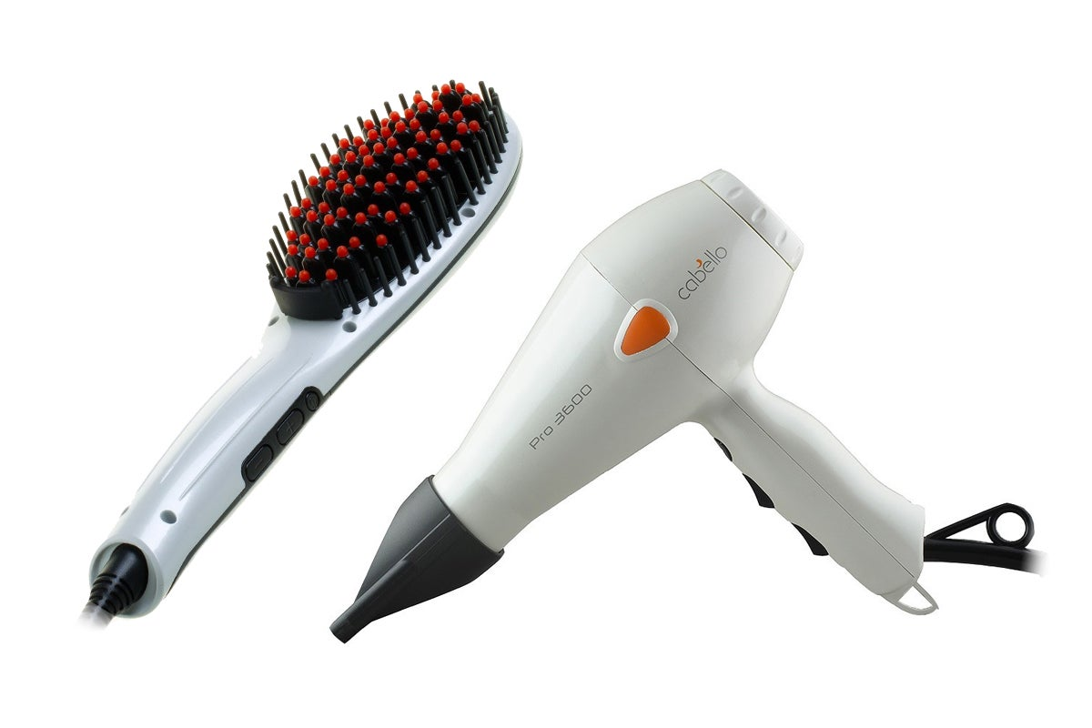 View more of the Cabello Hair Straightening Brush & Pro Hair Dryer Bundle (Pearl White)