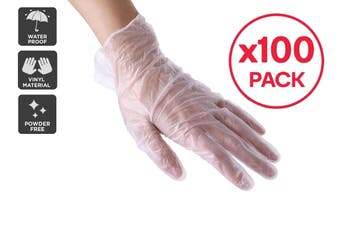 100 Disposable Vinyl Hand Gloves - Large