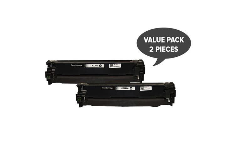CE320 #128A Black Premium Generic Toner (Two Pack)