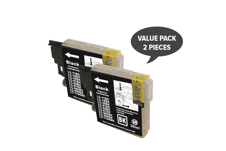 LC38 LC67 Black Compatible Inkjet Cartridge (Two Pack)