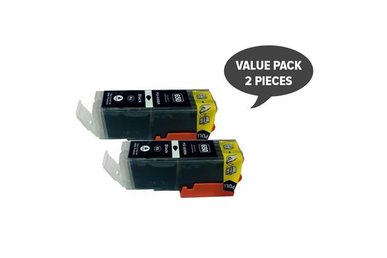 PGI-650XL Pigment Black Compatible Cartridge (Two Pack)