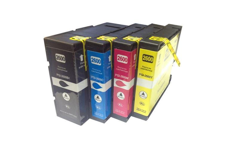 PGI-2600XL Premium Pigment Compatible Inkjet Cartridges (Set of 4)