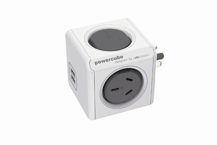 Allocacoc PowerCube 2 Outlets & 2 USB Charging - Grey (PC4200)