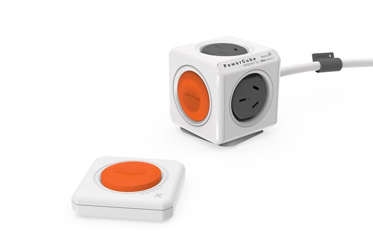 Allocacoc PowerCube 1.5m with 4 Power Outlets & Remote - Grey/Orange (ALL-POWERCUBE-1562)