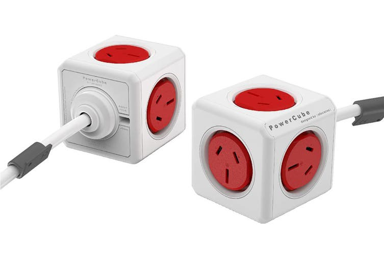 Allocacoc PowerCube 3m with 5 Power Outlets - Red (ALL-POWERCUBE5304-RD)