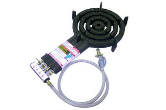 Auscrown Quad Ring LP Burner with Hose & Regulator