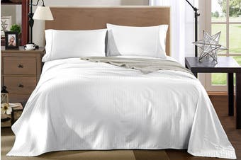 Royal Comfort Kensington 1200TC 100% Egyptian Cotton Stripe Bed Sheet Set (Queen, White)