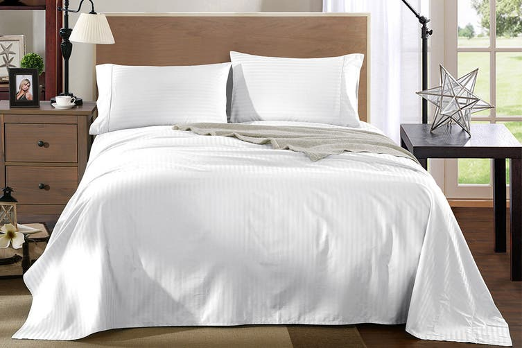 Royal Comfort Kensington 1200TC 100% Egyptian Cotton Stripe Bed Sheet Set (King, White)