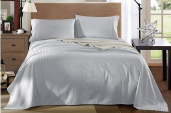 Royal Comfort Kensington 1200TC 100% Egyptian Cotton Stripe Bed Sheet Set (Double, Grey)