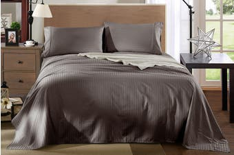 Royal Comfort Kensington 1200TC 100% Egyptian Cotton Stripe Bed Sheet Set (Double, Charcoal)