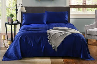 Royal Comfort Kensington 1200TC 100% Egyptian Cotton Stripe Bed Sheet Set (Queen, Indigo)
