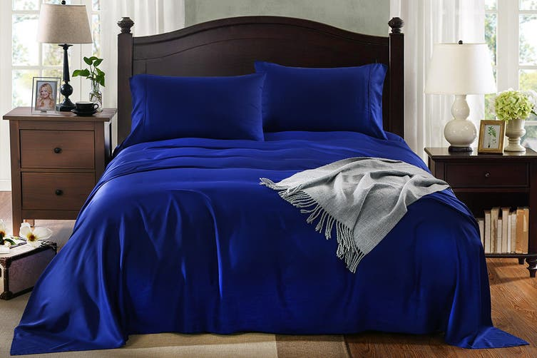Royal Comfort 100% Natural Bamboo Bed Sheet Set (Queen, Indigo)