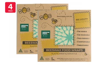 4 Pack Bee Wrappy Beeswax Wraps - Medium