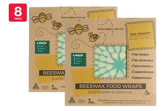 8 Pack Bee Wrappy Beeswax Wraps Kitchen Pack with 4 x Small, 2 x Medium & 2 x Large