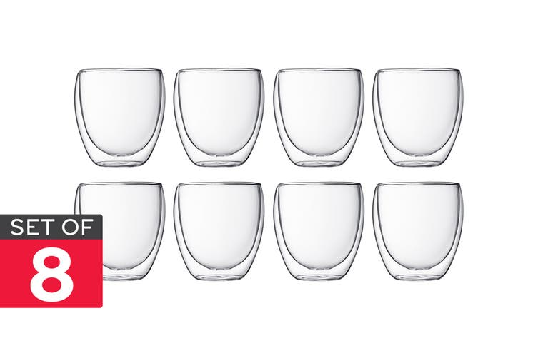 Set of 8 Bodum Pavina Double Wall Glasses - 250ml/Small (4558-10AUS)