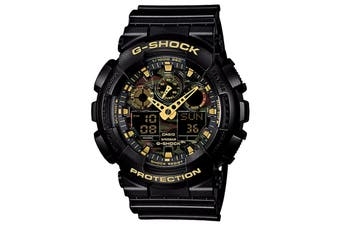 Casio G-Shock Camouflage Ana-Digital Watch - Black/Gold (GA100CF-1A9)