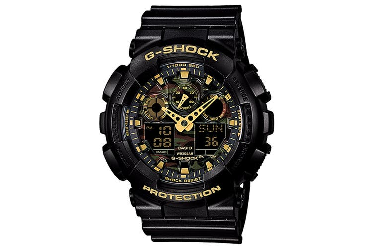 Casio G-Shock Camouflage Ana-Digital Watch - Black/Gold (GA100CF-1A9)