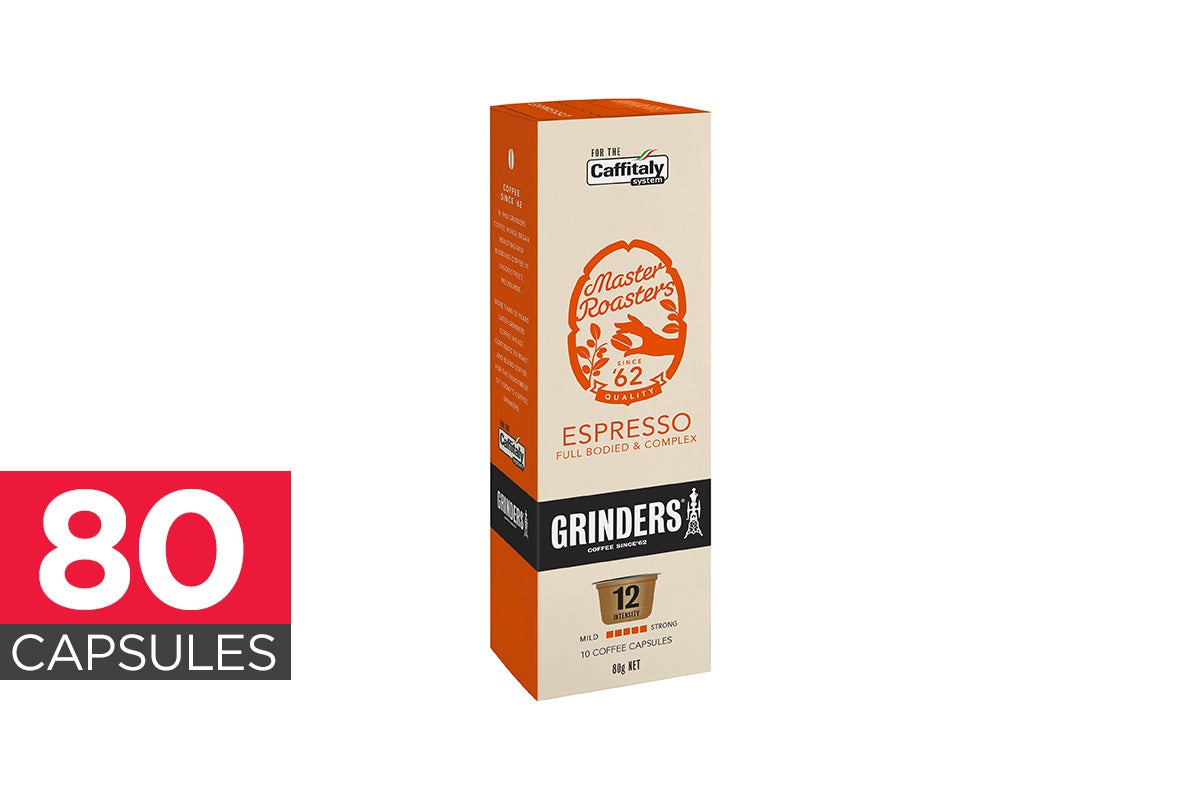 80-Pack Grinders Caffitaly Capsules - Espresso (8 x 10 Pack)