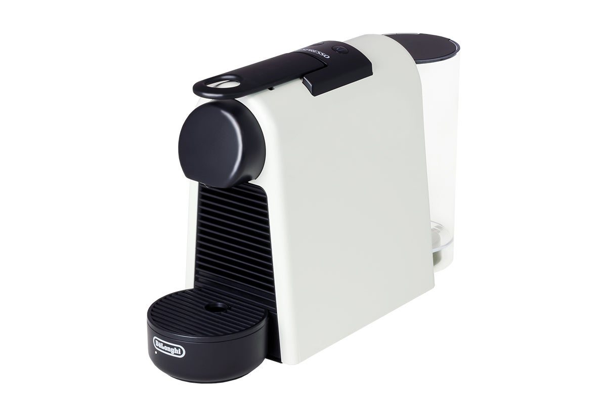 DeLonghi Essenza Mini & Aeroccino3 Milk Frother Coffee Capsule Machine – White (EN85WAE)
