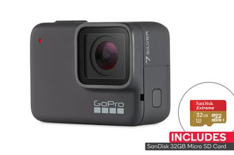 GoPro HERO7 Silver 4K Action Cam + 32GB SD Card (GPCHDHC-601)